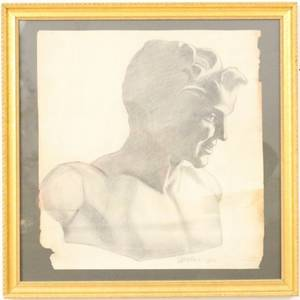 Charcoal Figural Bust Study Signed  Dated