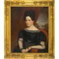 19th c american portrait paintings two oils on canvas depicting a lady and gentleman framed provenance private collection new jersey 34 12 x 27 12
