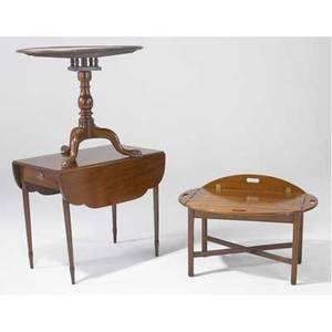 19th century furniture mahogany pembroke dropleaf table together with bird cage tilttop table and butlers tray table all early 19th c largest 28 34 x 34 x 18 12