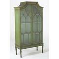 Chinese chippendale china cabinet green chinoiserie decoration top section on frame early 20th c 72 x 39 x 16
