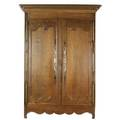 Country french armoire in oak with paneled double doors and removable top with crown molding 19th c 95 x 58 12
