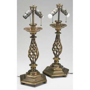 Bronze lamps pair of heavy swirl design table lamps candlestick form with hexagonal bases on round button feet ht 23 12