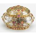 Rock crystal box mounted in high carat gold with foilbacked gemstones hinged dome lid 19th c crack to bottom of box could be natural occlusion 1 12 x 2