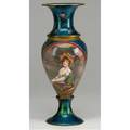 French art nouveau enameled vase baluster form turquoise enamel decorated with a butterfly among scrolling thistles the central reserve depicts a seated woman in landscape on base metal with gilt b