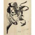 Mike bidlo american b 1954 not warhol cow wallpaper 1984 screenprint framed signed 42 14 x 33 38 sight provenance private collection new york