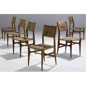 Gio ponti set of six side chairs with woven cane seats and backrests 34 x 17 x 17 12