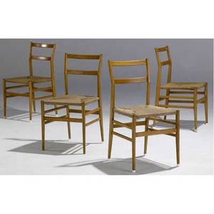 Gio ponti set of four superleggera chairs with woven cane seats unmarked 32 x 17 x 16