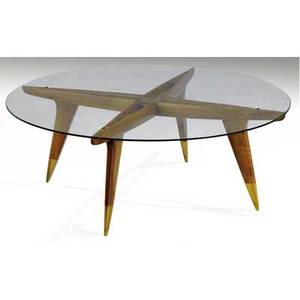 Gio ponti coffee table with circular glass top over mahogany and brass base 14 12 x 39 12 dia