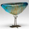 Alessandro pianon  vistosi blown glass bird sculpture with orange threading on blue ground with steel wire legs 6 34 x 8 14