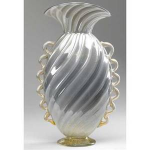 Seguso vetri darte silver swirled glass vase with scalloped handles and gold foil inclusions 14 x 8