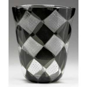 Barovier intarsia glass vase with fused triangles in charcoal and clear with submerged bubbles 8 14 x 7