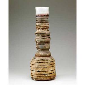 Robin welch british tall multifired stoneware vessel provenance collection of hope and jay yampol impressed signature 28 34 x 10