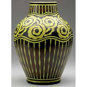 Charles catteau  boch freres large vase painted with stylized blossoms in bright yellow against a brown and black ground blue ink w5d 975ch catteauboch freres keramis made in belgium 12 14 x