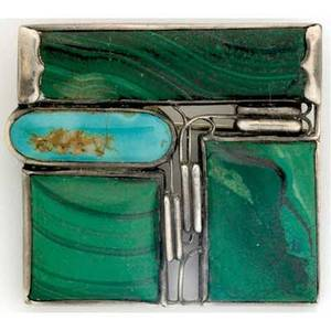 Josef hoffmann  wiener werkstatte brooch in sterling silver malachite and turquoise stamped 900 wiener werkstatte shop mark josef hoffmann designer mark and vienna 2 w hallmark 1 38 x 1 12