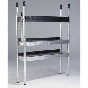 Phillip lloyd powell shelving unit with silver leaf finish and carved wood edges 80 x 63 x 16