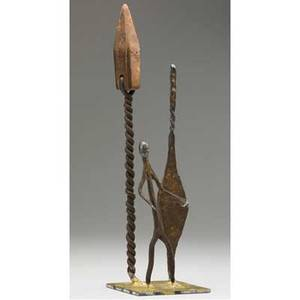 Klaus ihlenfeld germanamerican 20th c landscape with african figures 2006 forged iron copper brass and steel signed 15 high provenance the artist