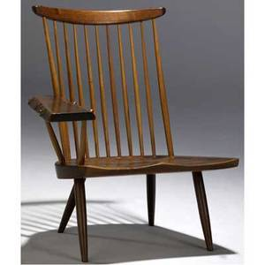 George nakashima walnut lounge chair with freeedge writing arm provenance available marked with clients name 33 x 30 12 x 32