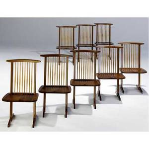 George nakashima set of eight walnut conoid dining chairs with hickory spindles provenance available marked with clients name 35 14 x 21 x 19