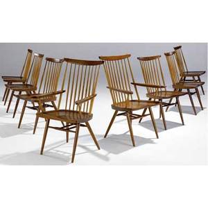 George nakashima set of eight walnut new chairs six arm and twoside provenance available marked with clients name 39 x 25 x 23