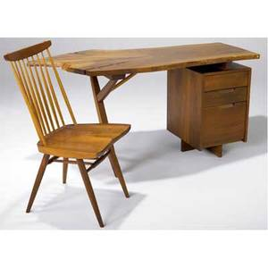 George nakashima walnut conoid desk the freeedge top with three rosewood butterfly keys ca 1970s accompanied by a new chair both marked with clients name provenance available desk 30 x 60