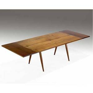 George nakashima walnut turnedleg dining table with three rosewood butterfly keys and two 16 leaves 28 12 x 72 x 40 14