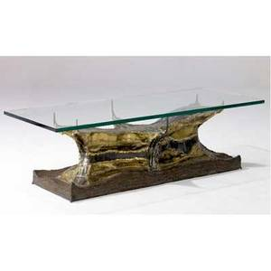 Fred wertlieb cocktail table with glass top over patinated sculptural metal base 1971 signed and dated 15 12 x 54 x 20