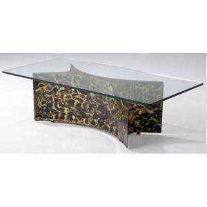 Silas seandel coffee table with plate glass top over welded patinated metal base 16 x 54 x 25 12