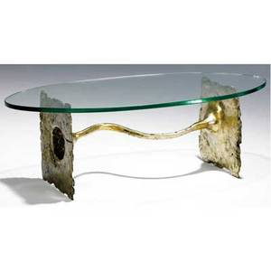 Silas seandel coffee table with glass top over cast bronze base engraved signature 16 x 47 x 24