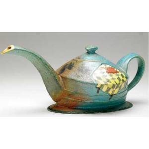James lawton glazed ceramic teapot with enamelpainted decorations 1983 signed and dated 6 14 x 15 14