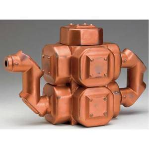Steven montgomery ceramic machineform teapot covered in copper glaze 1989 signed and dated 8 12 x 6 x 15