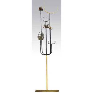 Paul evans welded and patinated steel sculpture on gilded stand 68 12 x 17 12 x 38
