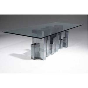 Paul evans cityscape dining table with glass top over satin and bright chrome base signed 29 14 x 96 x 44