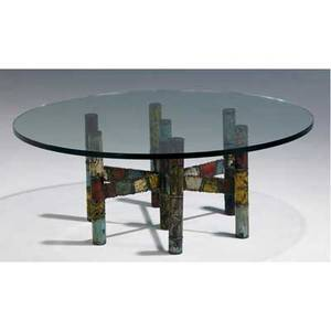 Paul evans coffee table with circular glass top on welded and patinated steel base 16 x 42 dia