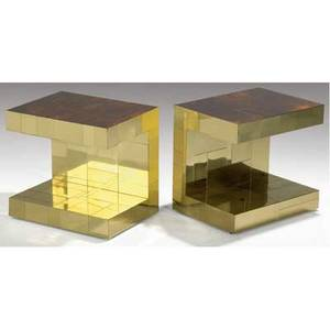 Paul evans pair of brass cityscape ushaped end tables with inset rosewood tops 23 12 x 25 x 19