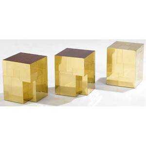 Paul evans set of three polished brass cityscape side tables two with inset rosewood tops 18 14 x 14