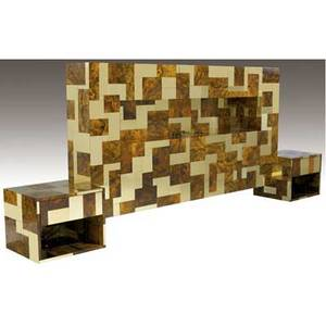 Cpaul evans cityscape brass and burl walnut hanging kingsize headboard with illuminated niche flanked by a pair of integrated singledrawer nightstands accompanied by copy of original receipt and