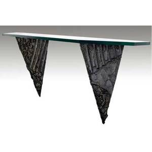 Paul evans wallhanging console table with glass top over two pyramidshaped sculpted bronze supports 1970 one support marked pe 70 24 14 x 59 x 14