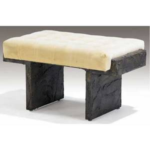 Paul evans sculpted bronze bench with beige tufted velvet upholstery 1969 signed pe 69 18 12 x 32 x 19