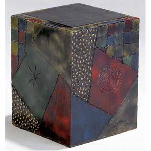 Paul evans sculpted patinated steel cube table with inset slate top 1973 signed pe 73 18 12 x 14 12