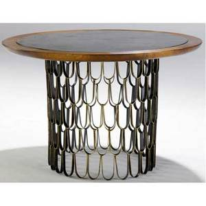 Paul evans circular occasional table with slate and walnut top over gilded loop base 27 12 x 42