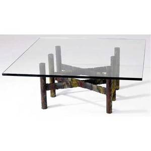 Paul evans occasional table with glass top over patinated steel base signed 16 x 42 sq