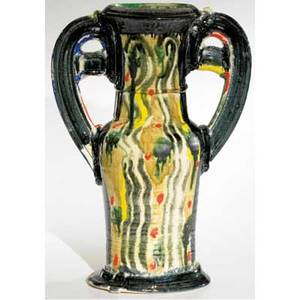 Betty woodman glazed earthenware urn covered in mottled majolica glazes with coldpainted red drips signed 18 x 12 x 6