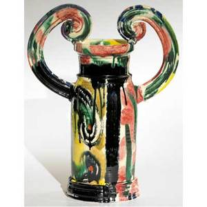 Betty woodman glazed earthenware urn covered in mottled majolica glazes with coldpainted red drips signed 20 x 16 x 6