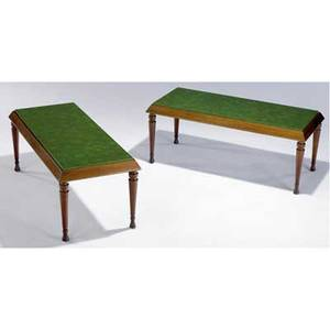 Billy haines pair of occasional tables with faux malachite finish tops on mahogany bases provenance from the estate of armand and harriet deutsch marked ad 30 18 12 x 47 34 x 20 34