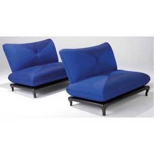 James mont pair of armless settees upholstered in bright blue raw silk on ebonized oak bases 33 x 50 x 38