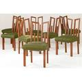 James mont set of eight dining chairs with greek key backs in original cinnabar lacquer upholstered in green raw silk ca 1954 35 12 x 19 x 18