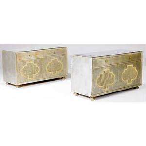James mont pair of mirroredtop chests in silver finish each with single drawer over two canefront doors each 36 x 48 x 20