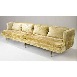 Edward wormley  dunbar long sofa upholstered in celadon crushed velvet on brass feet 28 x 108 x 31