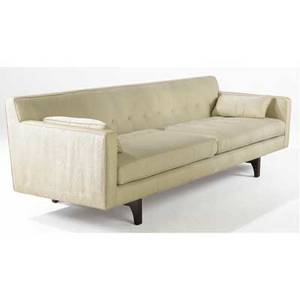 Edward wormley  dunbar sofa upholstered in cream moir fabric on walnut base dustcover embossed dunbar 27 12 x 84 x 30