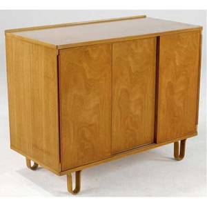 Edward wormley  dunbar bleached mahogany server with sliding doors enclosing interior pullout shelves on bentwood legs dunbar paper tag 34 x 42 x 21
